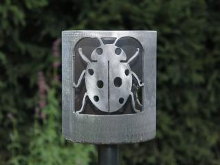 Bild Gartenfackel Marienkäfer groß