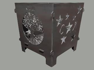 Bild Feuerkorb mit Sternen und Buchstaben